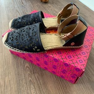 Tory Burch Navy Calf Hair Lazer Cut Espadrilles